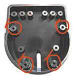Rear view with mounting screw holes circled - use sef tapping screws