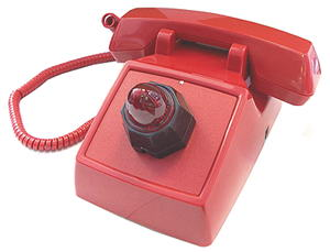 Red No-Dial 2500 Set with Neon Beehive Ringing Indicator and Amplified Handset