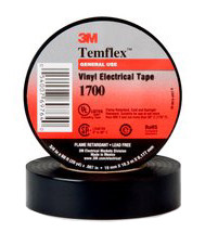 3M 1700 Temflex Black Electrical Tape 3/4 Inch by 66 Feet - Sleeve of 10 Rolls