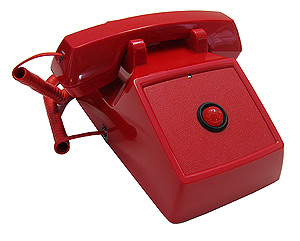 Red No-Dial 2500 Set with Large LED Neon Type Message Waiting and Ringing Indicator, and Amplified Handset
