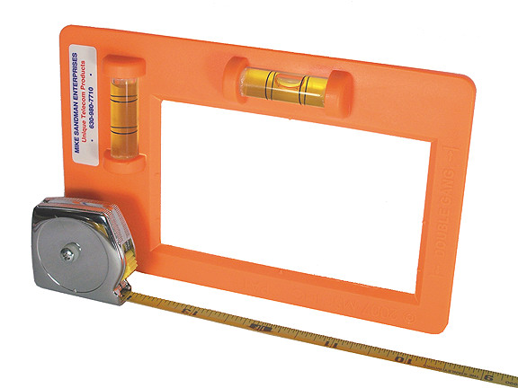 Level / Template with Swiveling Tape Measure for Low Voltage Flush Mount Device