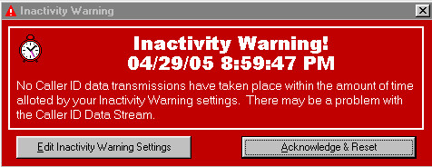 Caller ID Watch PLUS Inactivity Warning Screenshot