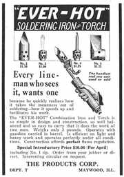 Click to see a bigger copy of the old Combination Torch and Soldering Iron ad
